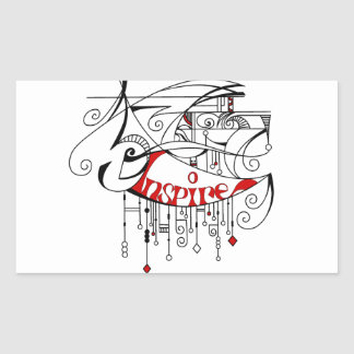 Red Inspire In Lines and Dangles Rectangular Sticker
