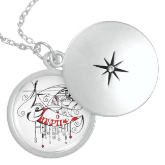 Red Inspire In Lines and Dangles Round Locket Necklace