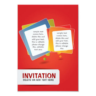 Red invitation card with fun composition