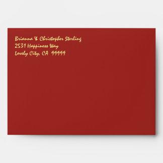 Red Invitation Envelopes Gold Damask