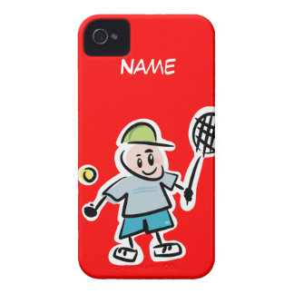 Red iphone case with funny tennis cartoon design