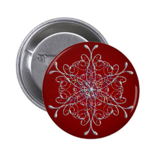 Red Iridescent Snowflake Button