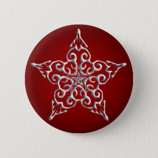 Red Iridescent Star Button