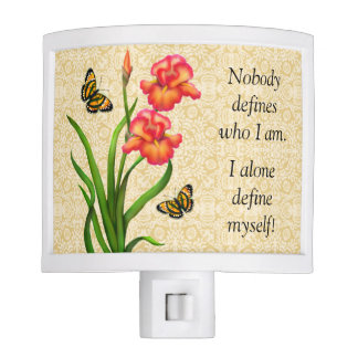 Red Iris Flowers Motivational Night Light