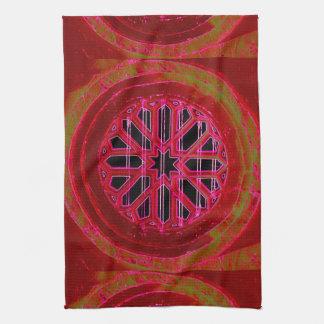 red irish church window towel