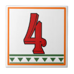 Red Italian House Signs Letters & Numbers Tiles