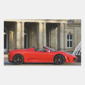 Red Italian sports car before lock Rectangular Sticker