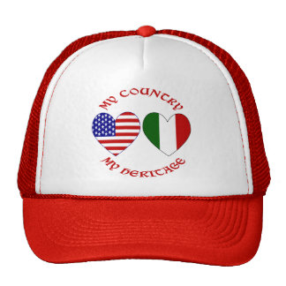 Red Italian USA Country Heritage Trucker Hat