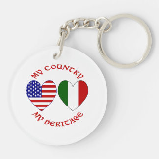 Red Italian USA Country Heritage Double-Sided Round Acrylic Keychain