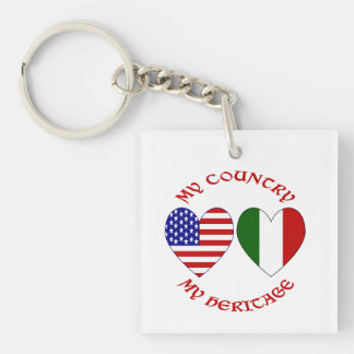 Red Italian USA Country Heritage Double-Sided Square Acrylic Keychain