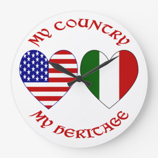 Red Italian USA Country Heritage Large Clock