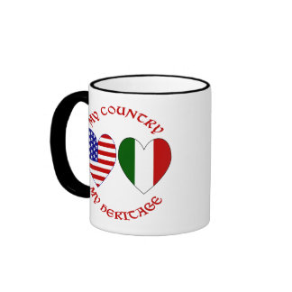 Red Italian USA Country Heritage Ringer Coffee Mug