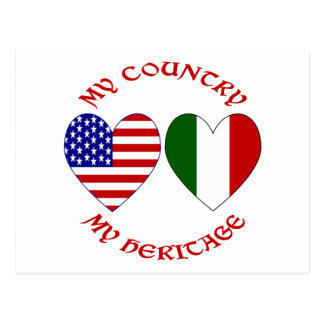 Red Italian USA Country Heritage Postcard