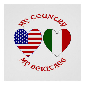 Red Italian USA Country Heritage Posters