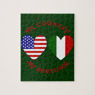 Red Italian USA Country Heritage Puzzle