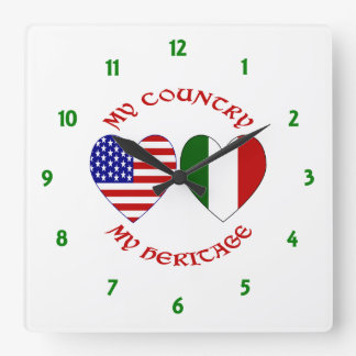 Red Italian USA Country Heritage Square Wall Clock