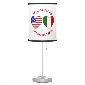 Red Italian USA Country Heritage Table Lamp