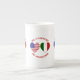 Red Italian USA Country Heritage Tea Cup