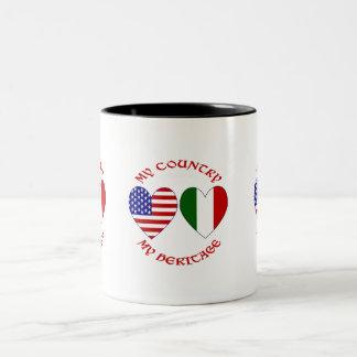 Red Italian USA Country Heritage Two-Tone Coffee Mug