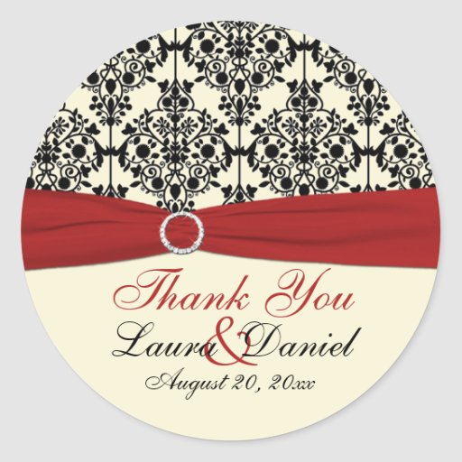"Red, Ivory, and Black Damask 3"" Thank You Sticker"