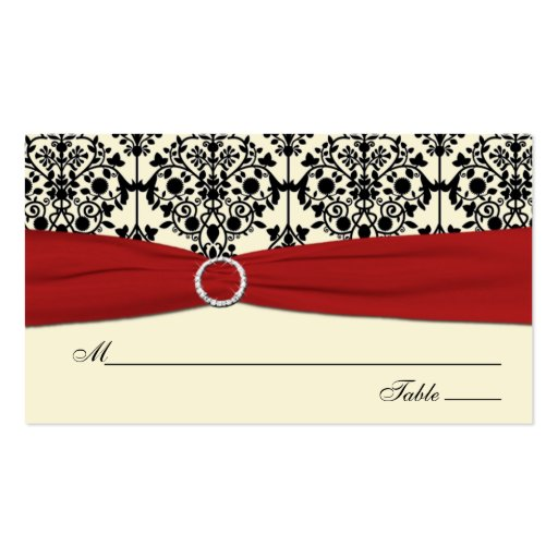 Red, Ivory, and Black Damask Placecards Business Card