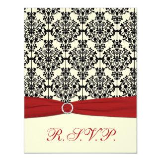 Red, Ivory and Black Damask RSVP Card
