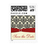Red, Ivory, and Black Damask Save the Date Postage