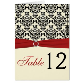 Red, Ivory, and Black Damask Table Number Card card