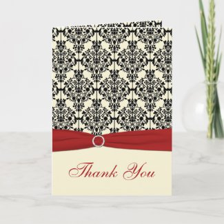 Red, Ivory, and Black Damask Thank You Card card