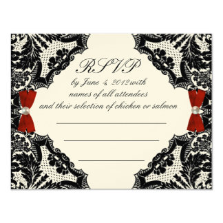 Red, Ivory and Black lace Wedding RSVP Card