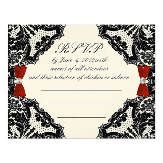 Red Ivory and Black lace Wedding RSVP Invites
