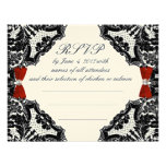 Red, Ivory and Black lace Wedding RSVP Invites