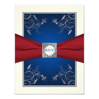 Red, Ivory, and Blue Floral RSVP Card