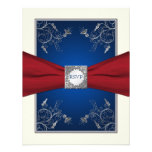 Red, Ivory, and Blue Floral RSVP Card Custom Announcement