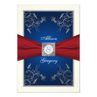 Red Ivory Blue Floral Monogram Wedding Invitation