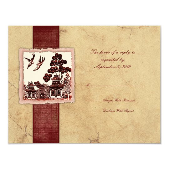 Red & Ivory Love Birds Vintage Wedding RSVP Card