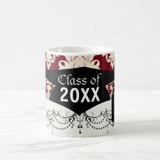 red ivory romantic elegant damask  graduation mug