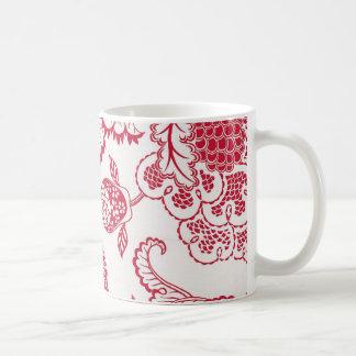 Red Jacobean print Coffee Mug