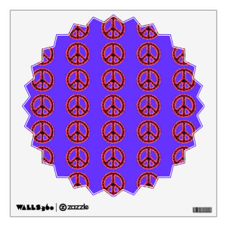 Red Jagged Peace Tiled Starburst Wall Decal