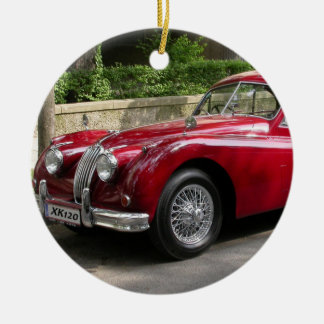 Red Jaguar XK120 Double-Sided Ceramic Round Christmas Ornament