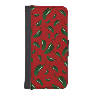 Red jalapeno peppers pattern phone wallets