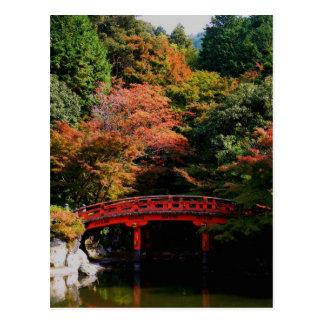 Red Japanese Bridge in Autumn Postcard