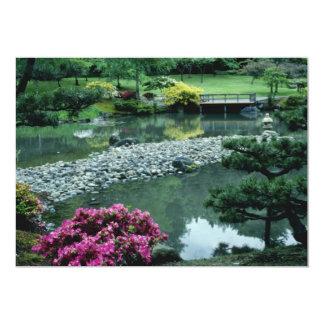 Red Japanese garden scene flowers Card