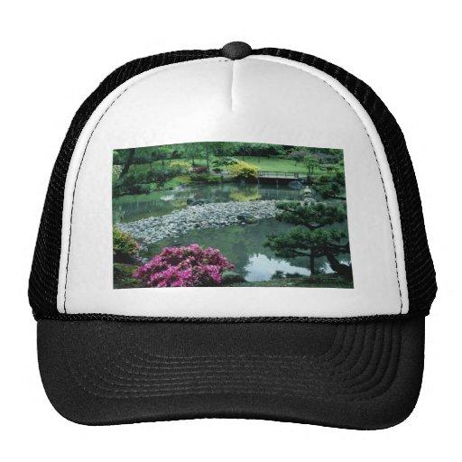 Red Japanese garden scene flowers Trucker Hat