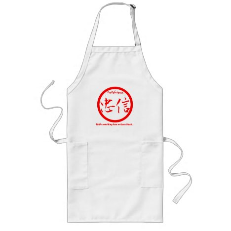 Red Japanese kamon • Faithfulness kanji Long Apron