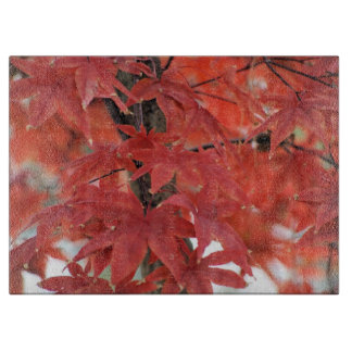 Red Japanese Maple Leaves cutting board