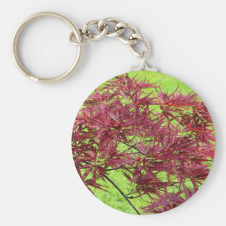 Red japanese maple leaves on green background basic round button keychain