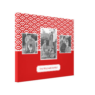 Red Japanese Pattern | Family Photos & Text Canvas Print