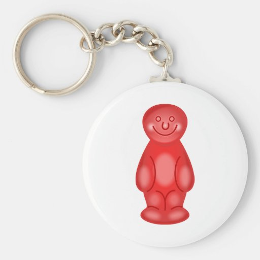 Red Jelly Baby Basic Round Button Keychain