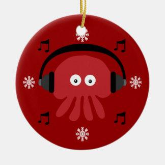 Red Jellyfish DJ & Snowflakes Customizable Ceramic Ornament